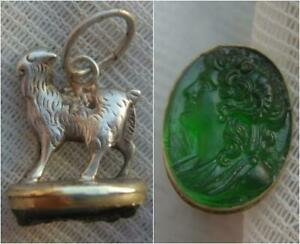 Victorian Silver Goat Llama Charm Pendant with Czech Glass Green Cameo Seal Base GBP 49.00