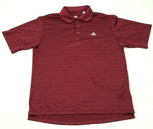 Adidas Climalite Polo Dry Fit Shirt Mens Size Large L Maroon Red Short Sleeve $18.77