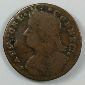 1787 Connecticut Draped Bust Left Colonial Copper Miller 33.2 Z.5 Holed $60.00