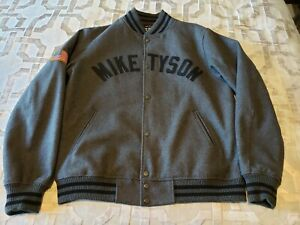 Mike Tyson Roots Of Fight Gray Bomber Jacket Excellent Condition Size LARGE