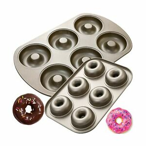 6 Cavity Nonstick Donut Pan 2 Size Donut Baking Molds Carbon Steel Donut Mo...