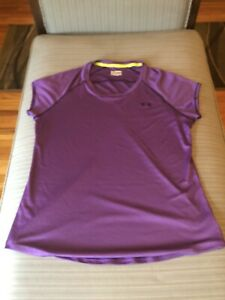 Women's Purple Under Armour HeatGear Semi Fitted Green Short Sleeve Shirt Size L $11.99