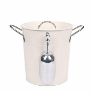 T586 4L Metal Galvanized Double Walled Ice Bucket Set With Lid And Scoop $24.90