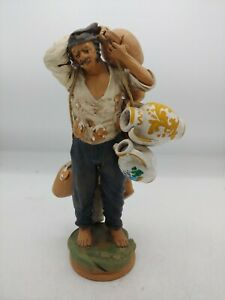 Italian Man with Rope holding Pottery Vases Water Jugs Very Detailed Signed