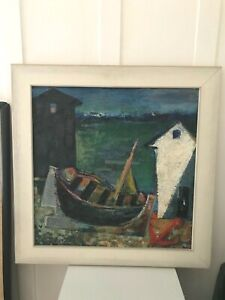 ANTIQUE SIGNED JOHANNES EUROPEAN EXPRESSIONIST OIL PAINTING CANVAS BOAT SCENE $200.00