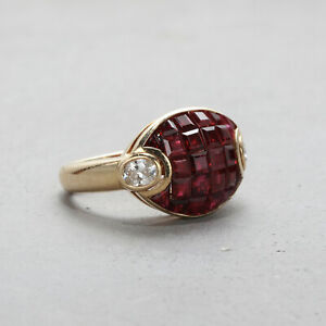 Mystery Set Ruby Diamond Ring in 18k Yellow Gold Size 5 Van Cleef Arpels Style $1395.00