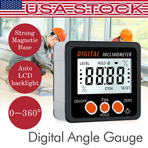 Digital LCD Protractor Level Box Magnetic Angle Finder Inclinometer w Backlight $20.00