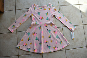 New Cat and Jack Youth Kids Girls Loring Pink Trees L S Print Dress S Small 6 6X $9.99