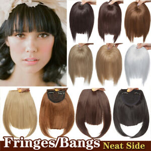 Clip in 100% Thick Soft Straight NEAT SIDE Fringes Bangs Hair Extensions as Real $7.90