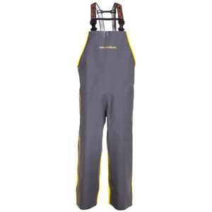 Grundens Hauler Commercial Fishing Bibs Hi vis Yellow Gray Trousers Rain Gear