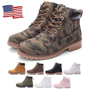 Womens Biker Retro Boots 6 Eye Classic Leather Fashion Ankle Boots Shoes US