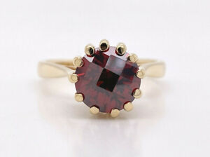 14K YELLOW GOLD VINTAGE RED GARNET SOLITAIRE RING 4.0G $299.99