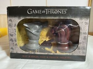 Game of Thrones Stark and Lannister Map Marker Salt and Pepper Shakers New Nib