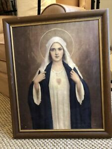 C. Bosseron Chambers Antique Painting Of Virgin Mary Immaculate Heart Wood Frame $69.99