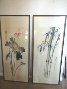 Vintage Pair of Chinese Hanging Scrolls 66quot; SIGNED and FRAMED $400.00