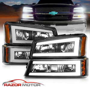 For 2003 2007 Chevy Silverado 1500 2500 3500 Avalanche LED Bar Black Headlights $199.88