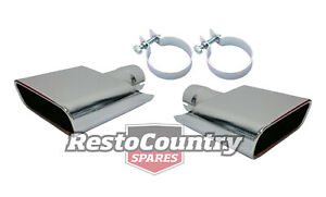 Ford Exhaust Tip Pair x2 LEFT RIGHT Clamps XA XB GT Falcon pipe chrome end AU $195.00