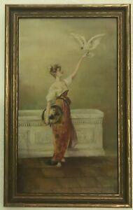 Victorian Oil Painting Lady with bird $349.99