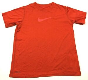 NIKE Dry Fit Shirt Youth Size Large Boys Orange Dri FIT Short Sleeve Tee Swoosh $11.82