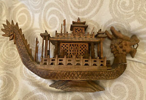 Exquisite Large Antique Hand Carved Chinese Wood Dragon Boat Movable Head More $850.00