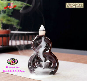 Ceramic Backflow Incense Cone Burner Holder Mini Gourd Waterfall02amp; 10pcs cones