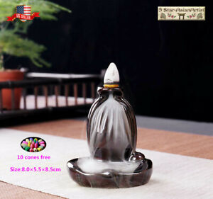 Ceramic Backflow Incense Cone Burner Holder Mini Waterfall 1 amp; 10pcs cones