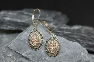 Oval Dangle Sterling Earrings with Marcasite and Champagne Cubic Zirconia