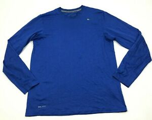 Nike Dry Fit Shirt Size Medium M Blue Heather Long Sleeve Dri FIT Quick Dry Tee $18.77