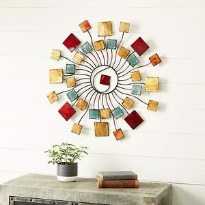 Home Decor Wall Sculptures Deco 79 Multicolored Modern Metal Abstract Sunburst $84.91