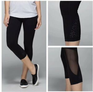 Lululemon Wunder Under Black Crop Leggings Womens Size 6 $39.00