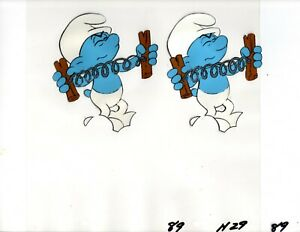 2 SMURFS Original Animation Production Cel in Sequential Order Hand Painted $26.00