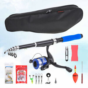 2.1m Portable Fishing Rod Reel Line Combos Full Kits Spinning Reel Pole with Bag