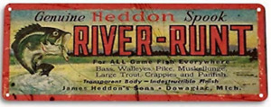 RIVER RUNT FISHING LURE TIN SIGN 10.5 X 4.5 HEDDON SPOOK BASS CRAPPIE PIKE FROG