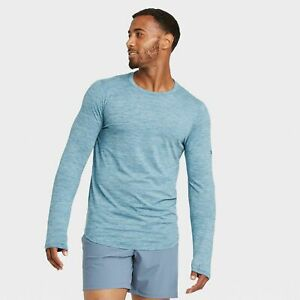 NWT Mens Soft Long Sleeve Gym T Shirt All in Motion Target Large Teal $15.00