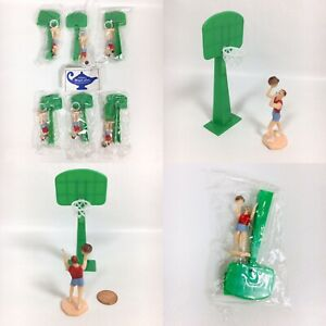 Vintage Lot of 6 BASKETBALL Player Hoops Net PARRISH#x27;S Cake Cupcake Food Toppers $15.99