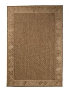 Neutral Contemporary Geometric Bordered Outdoor Area Rug 1113 $79.99