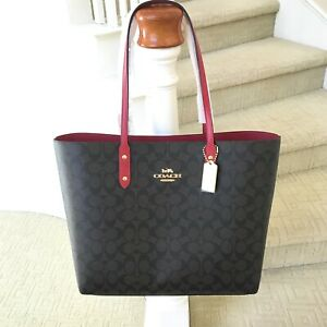 New Coach Signature Brown Red Town Tote Shoulder Bag F76636