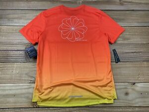 NWT Nike Running Dri Fit Swoosh Miler Pinwheel Sz M CT7804 833 Orange Reflective $44.99