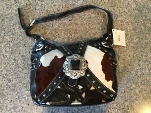 AMERICAN WEST Cowhide Hair And Brown Leather Pony Bag w Studs