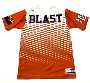 Arizona Blast Dry Fit Shirt Size Small S White Orange Short Sleeve All Over Tee $18.77