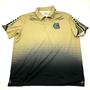 NEW Bulldog Polo Dry Fit Shirt Mens Size 2XL XXL Black Gold Short Sleeve Tee $18.77