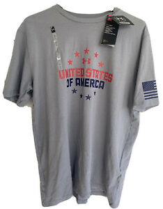 Under Armour Freedom United States of America Mens Large T Shirt HeatGear Gray L $24.99