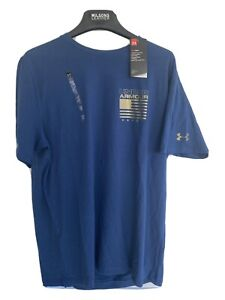 Under Armour United States of America Flag Mens L T Shirt Tee HeatGear Blue Gold $24.99
