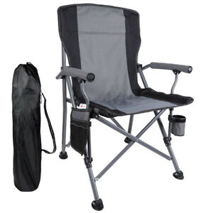 Heavy Duty Folding Camping Chairs Collapsible Arm Chair w Cup HoldersCarry Bag