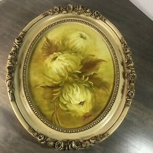 Vintage Painting on Canvas Floral Framed Signed Picture Round Art 445 $40.76