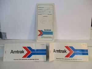 Amtrack Train Rail Ticket Sleeve w 2 Pink Tickets Chicago Houston 1971 amp; 1972