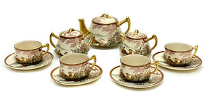 Japanese Satsuma Hand Painted Porcelain Tea Set Service for 4 Birds Mountains