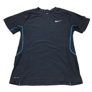 NIKE Dry Fit Shirt Youth Size Large YL Boys Blue Dri FIT Short Sleeve Tee Swoosh $11.82