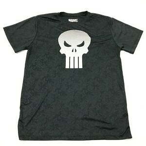 Marvel The Punisher Dry Fit Shirt Mens Size Large L Black White Short Sleeve Tee $15.02