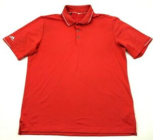 Adidas Climchill Polo Dry Fit Shirt Size Large L Orange Short Sleeve Workout Men $18.77